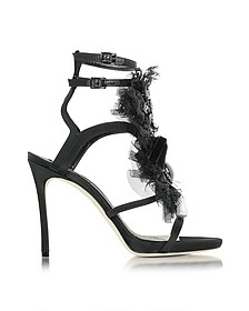 Victorian Black Satin and Lace Sandal - DSquared