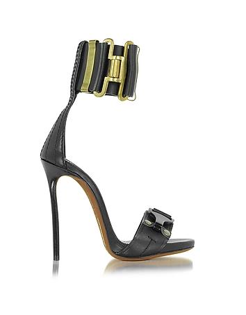 Military Black Leather Ankle Strap Sandal