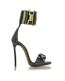 Military Black Leather Ankle Strap Sandal - DSquared2