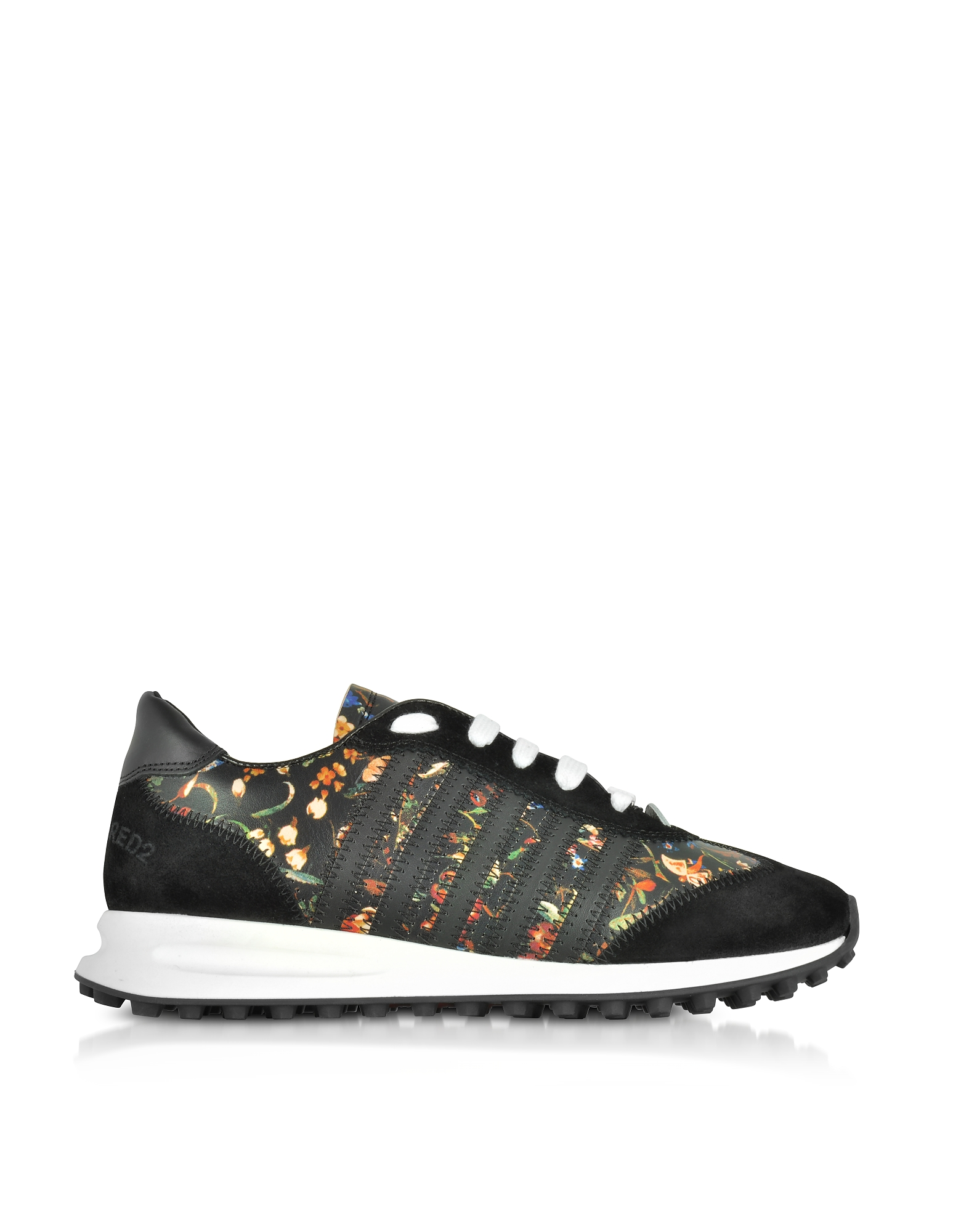 DSquared2 Shoes, Black Suede and Floral Leather Women's Sneakers