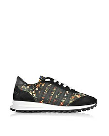 Black Suede and Floral Leather Women's Sneakers - DSquared