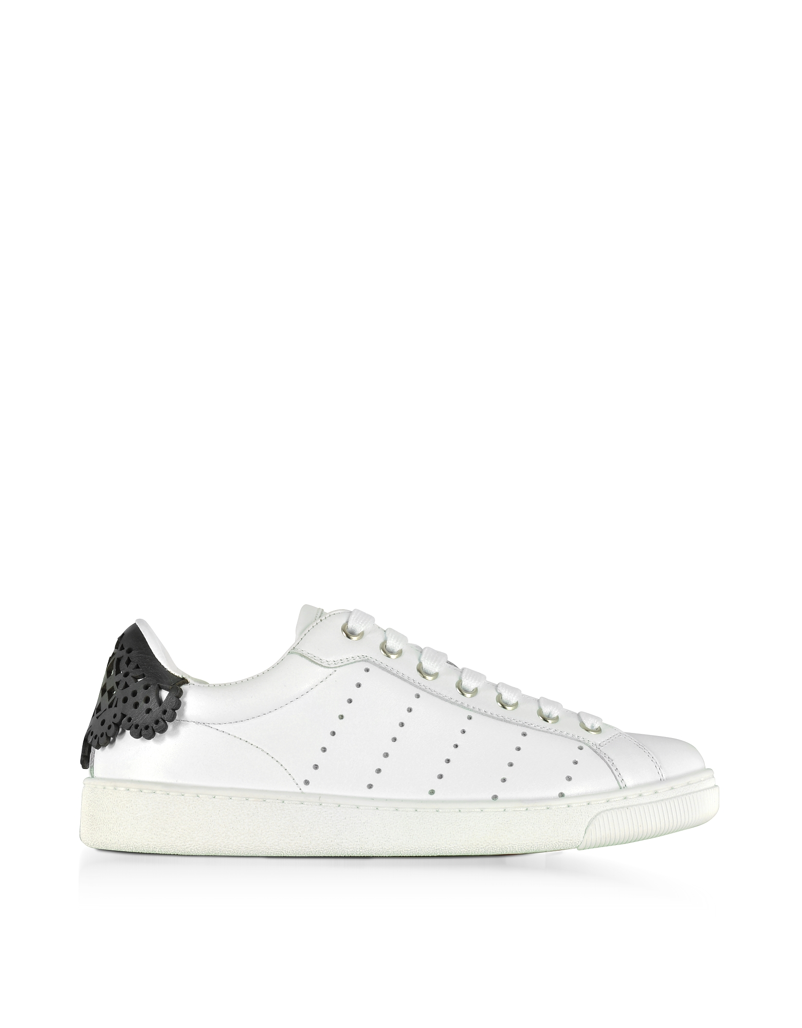 DSquared2 Shoes, Santa Monica White and Floral Black Leather Women's Sneakers