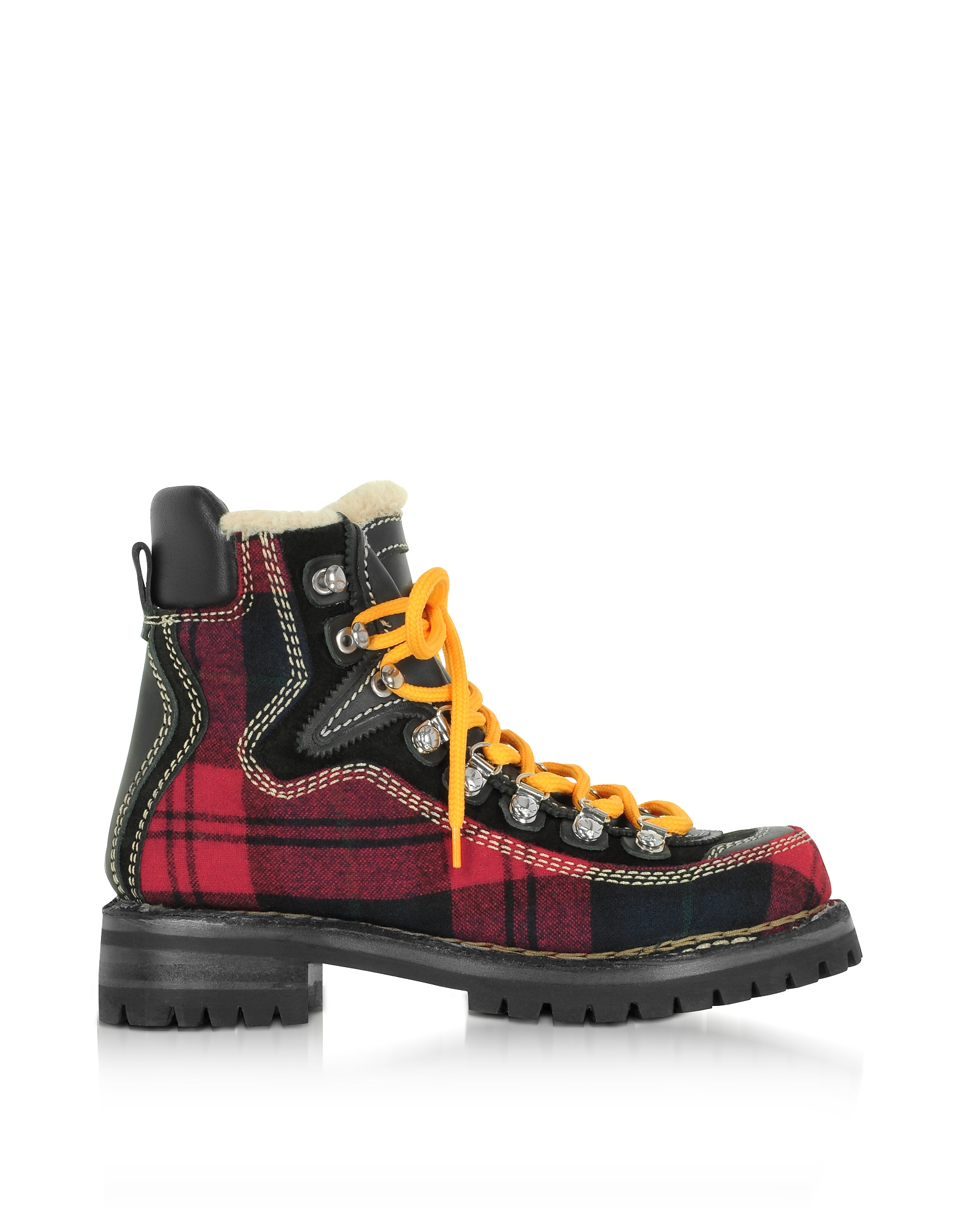 DSquared2 Red Tartan and Leather Canada Hiking Ankle Boots