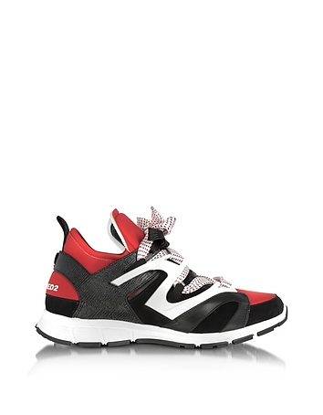 DSquared2 - Black/Red Lizard Printed Leather and Neoprene Woody Men's Sneakers