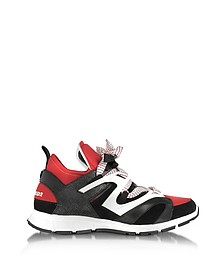 Black/Red Lizard Printed Leather and Neoprene Woody Men's Sneakers  - DSquared
