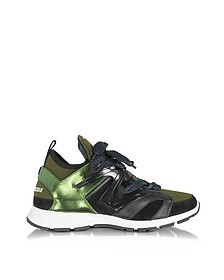 Woody Sneakers da Uomo in Pelle Mirror Verde e Neoprene - DSquared2