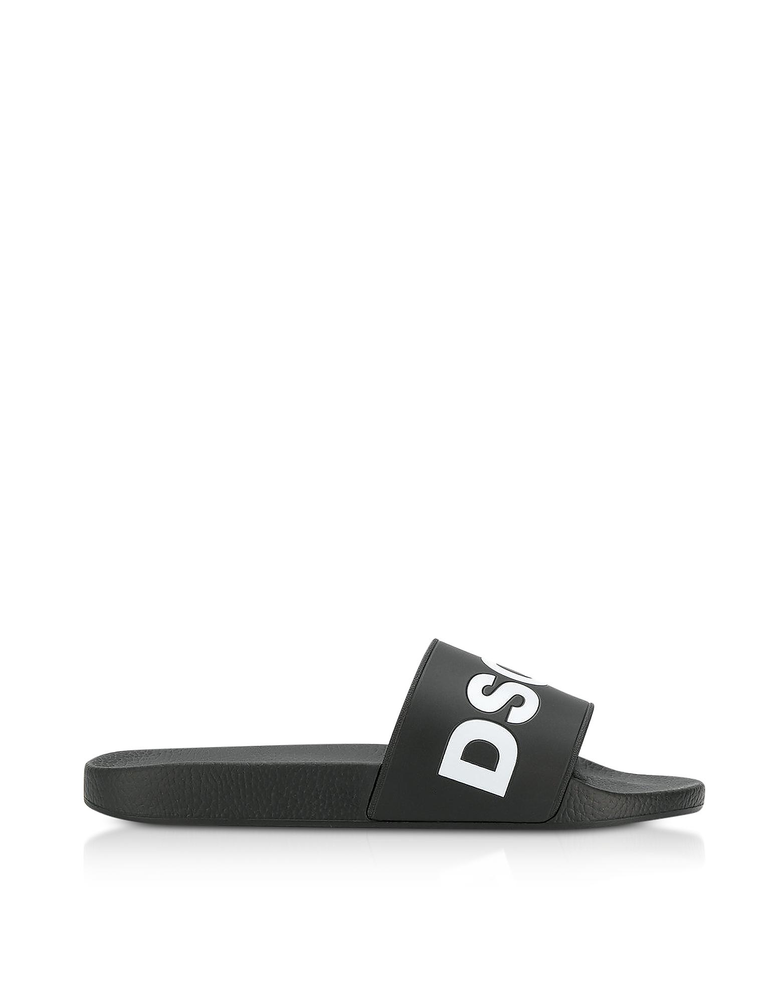 DSquared2 Shoes, Signature Black Rubber Slide Sandals