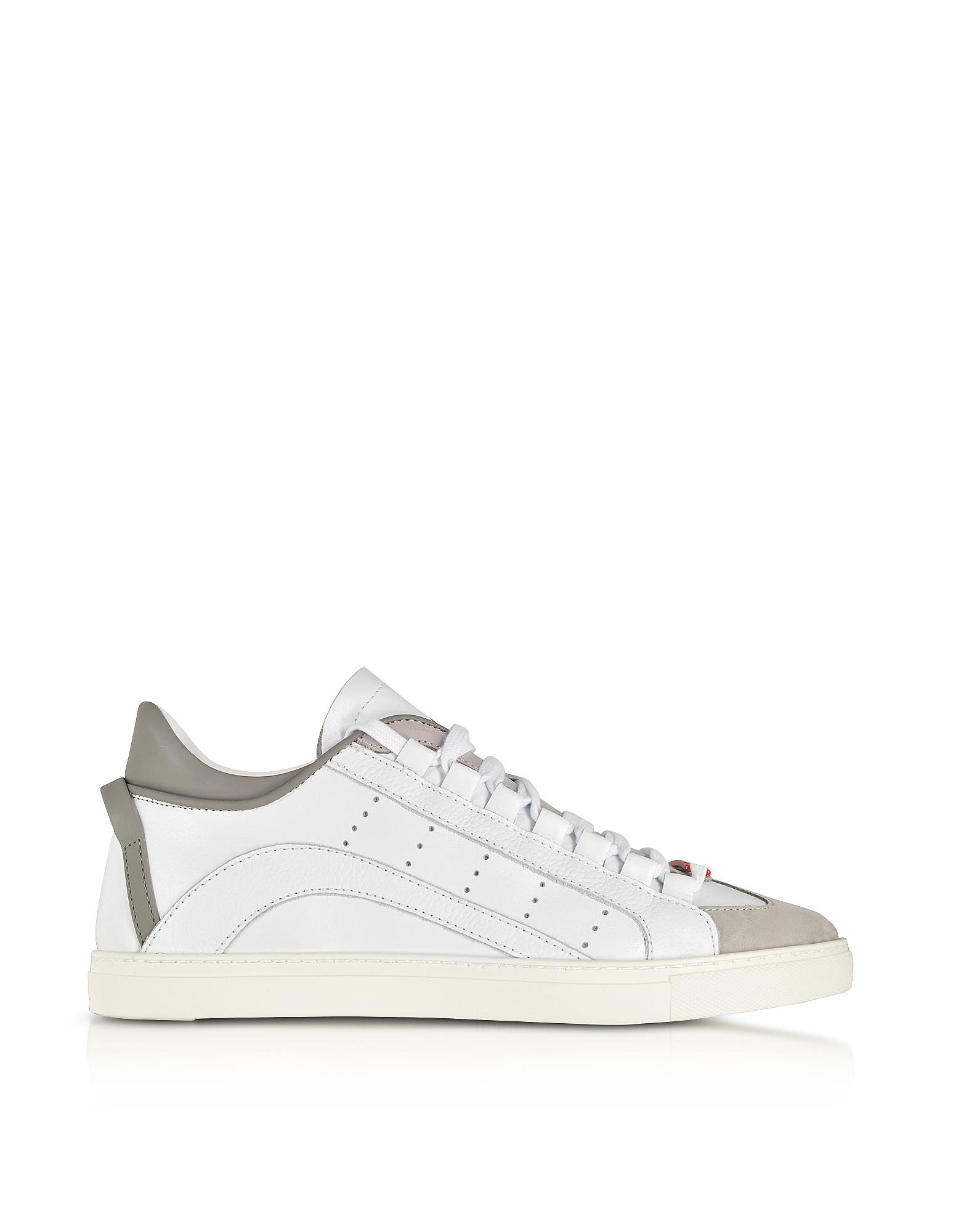 DSquared2 Shoes, White and Gray Leather Low Top Men's Sneakers