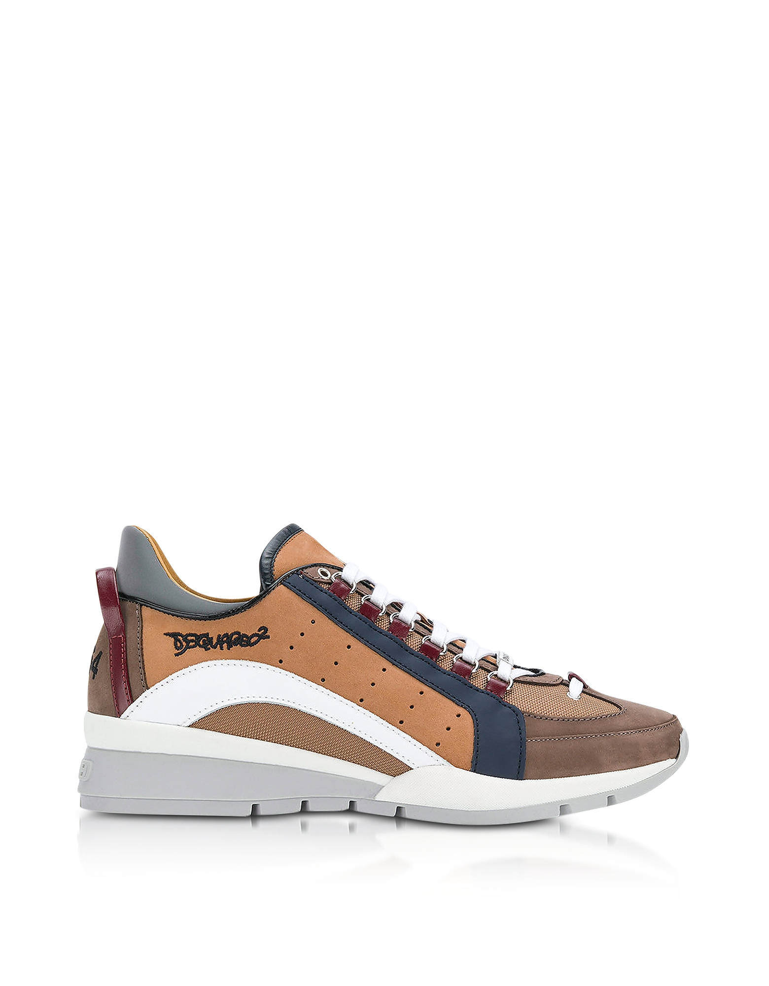 DSquared2 Shoes, Brown Nylon and Gommato Leather Men's Sneakers