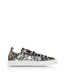 Sneakers Basses Homme en Tissu Imprimé Tattoo Multicolore - DSquared