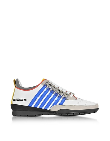 White and Blue Leather Sneaker