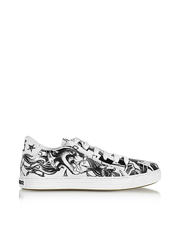 DSquared2 - Black & White Tatoo Printed Leather Men's Sneakers
