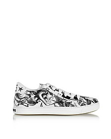 Black & White Tatoo Printed Leather Men's Sneakers - DSquared2
