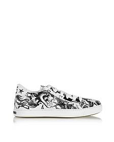 Sneakers Basses Homme en Cuir Blanc et Noir à Imprimé Tatoo - DSquared