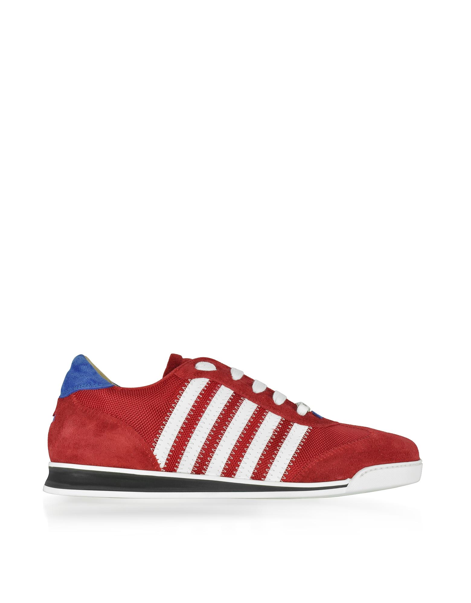 Красные / Белые Мужские Кроссовки из Замши и Нейлона