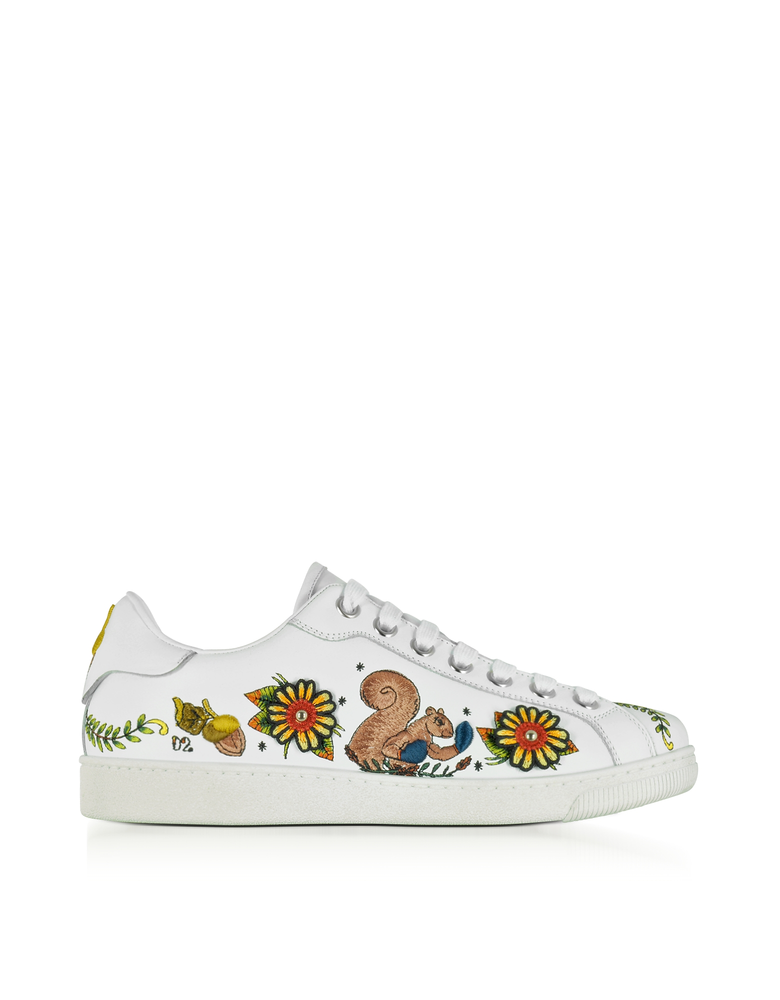 DSquared2 Shoes, Embroidered White Leather Men's Sneakers