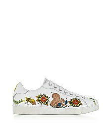 Embroidered White Leather Men's Sneakers - DSquared