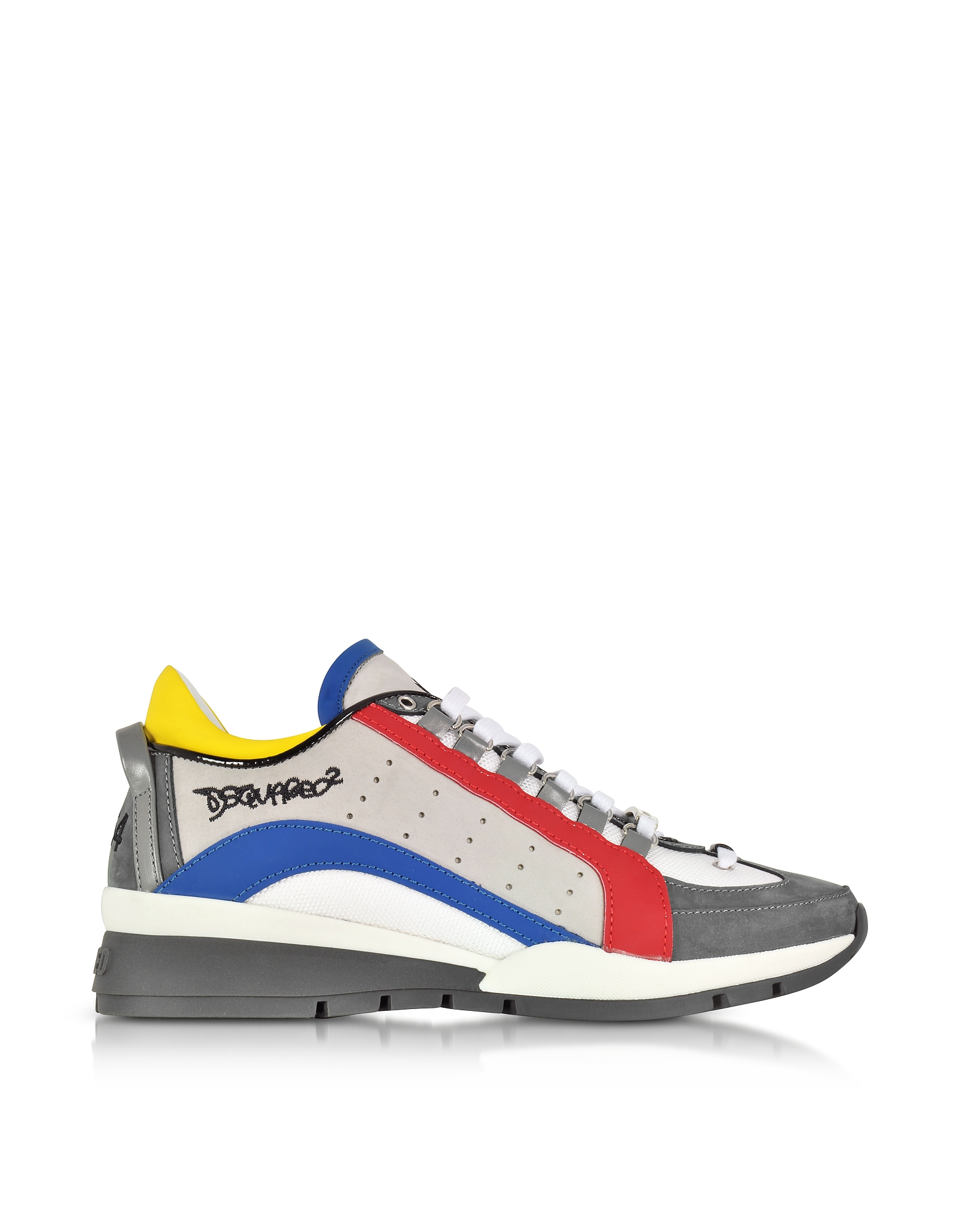 DSquared2 Shoes, Gray/Blue Suede and Nylon Men's Sneakers