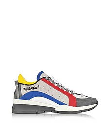 Gray/Blue Suede and Nylon Men's Sneakers - DSquared