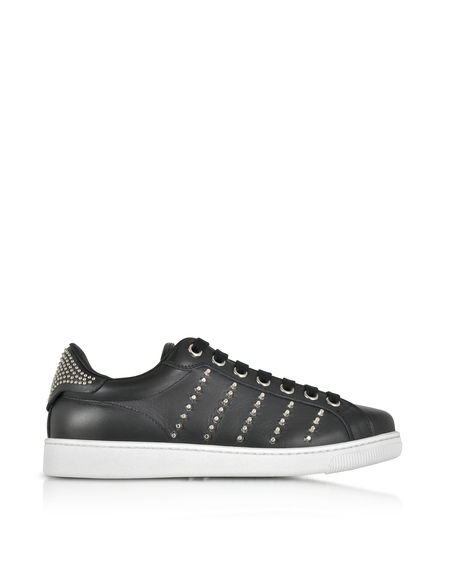 DSquared2 Shoes, Black Leather Men's Sneakers w/Studs