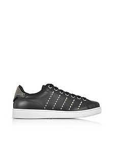 Black Leather Men's Sneakers w/Studs - DSquared
