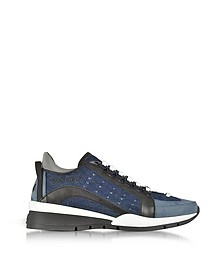Suede and Denim Destroyed Men's Sneakers - DSquared