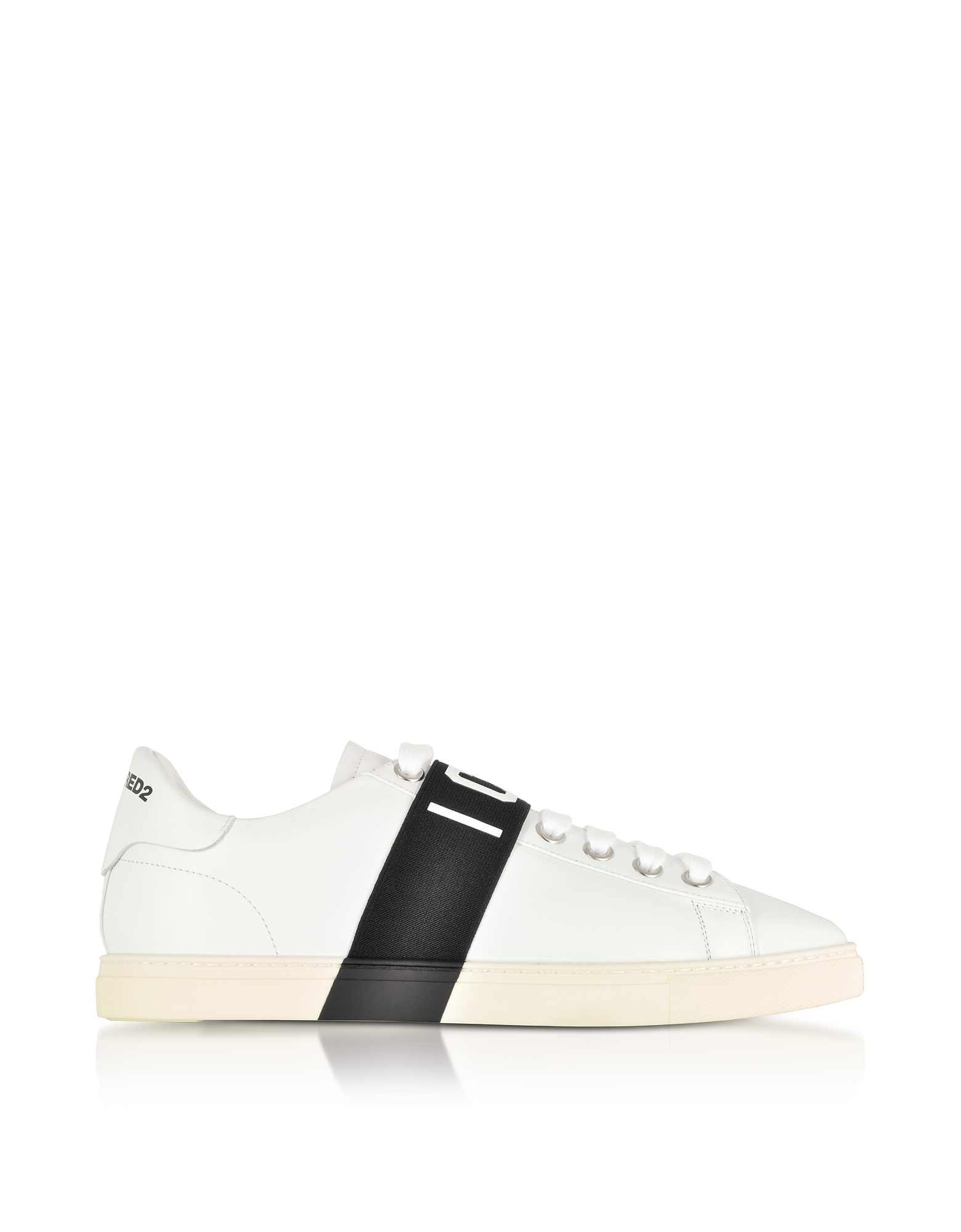 DSquared2 Shoes, White Leather Icon Men's Sneakers w/Black Band