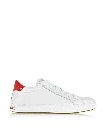Foto DSquared2 Sneaker Flat in Pelle Bianco Ottico e Vernice Rossa Scarpe