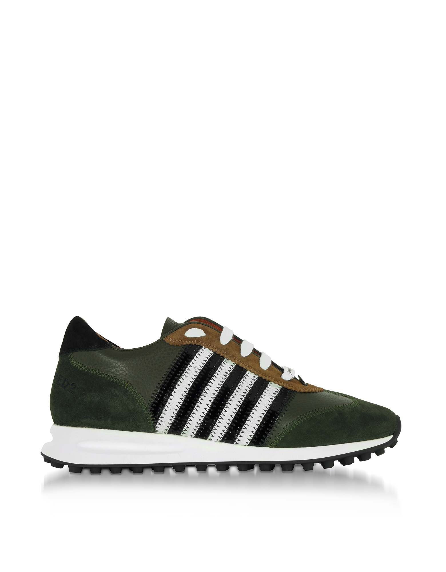 DSquared2 Shoes, Green Leather and Suede New Running Hiking Men's Sneakers