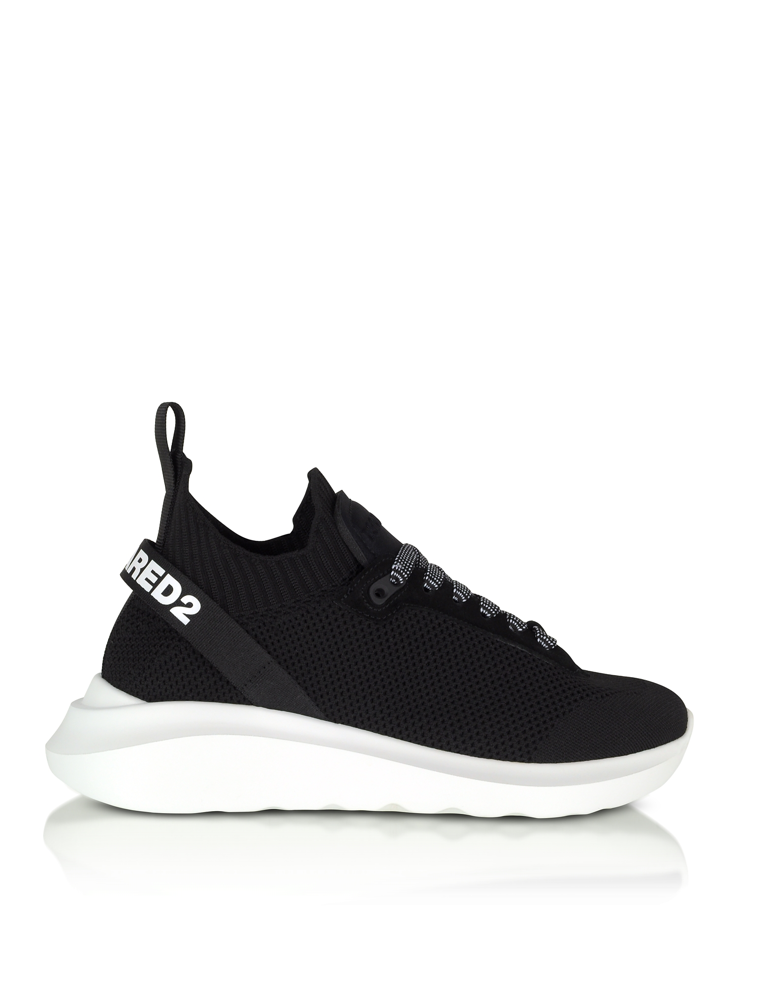 Black Neoprene, Nylon and Leather Men's Sneakers