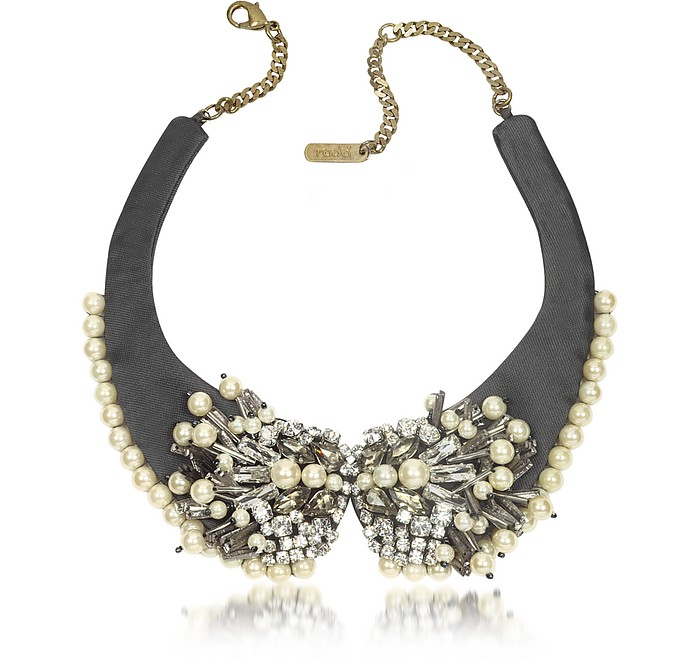 Pearl Bead and Crystal Fabric Choker Necklace - Radà