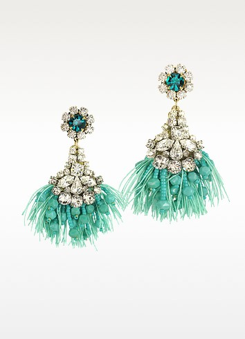 Crystals Fringed Drop Earrings - Radà