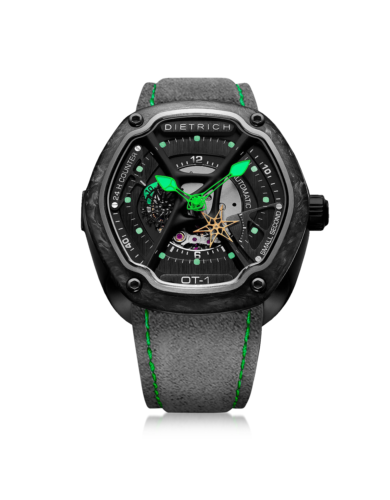 OT-1 316L Steel And Forged Carbon Men's Watch w/Green Luminova and Gray Suede Strap