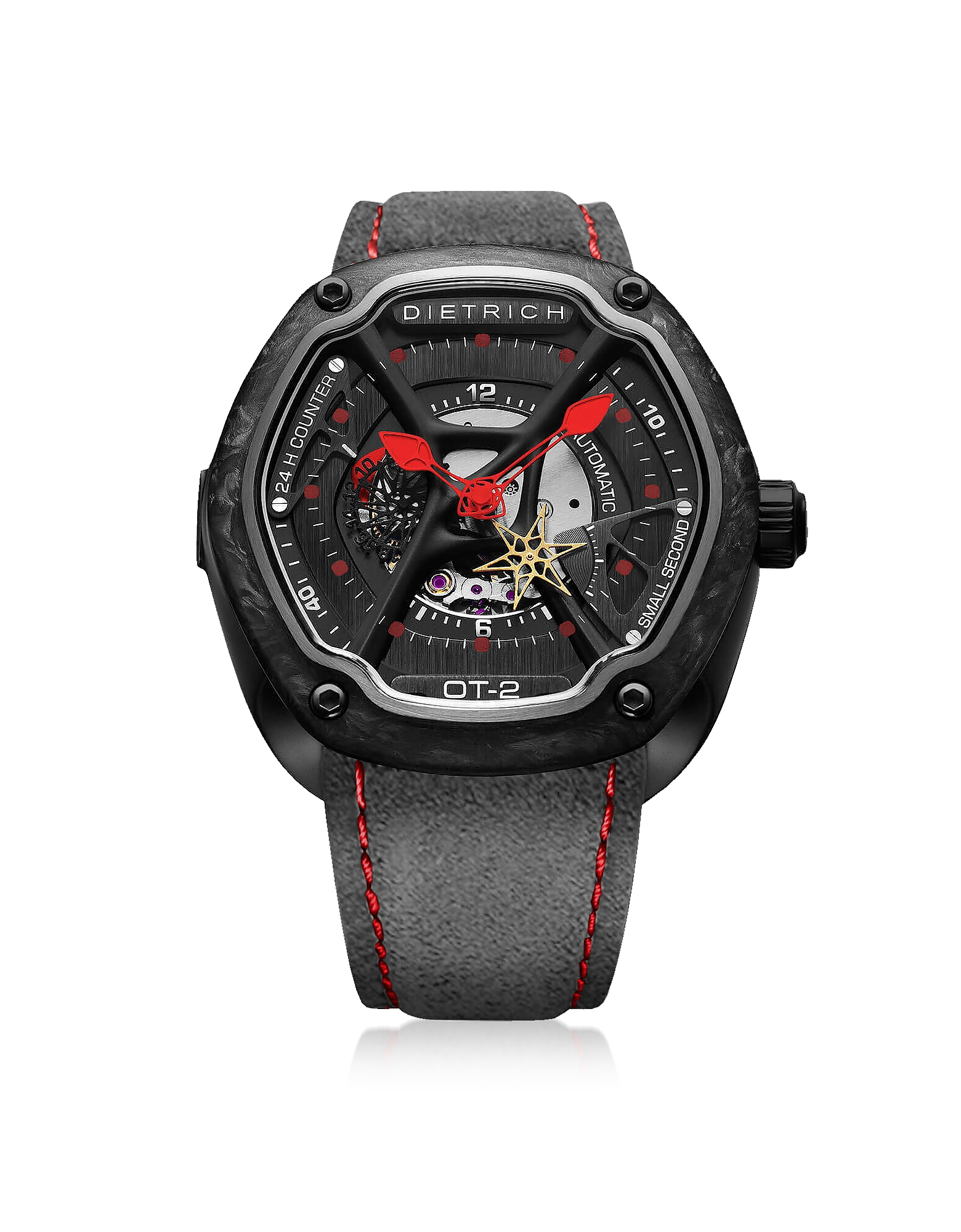 OT-2 316L Steel And Forged Carbon Men's Watch w/Red Luminova and Gray Suede Strap