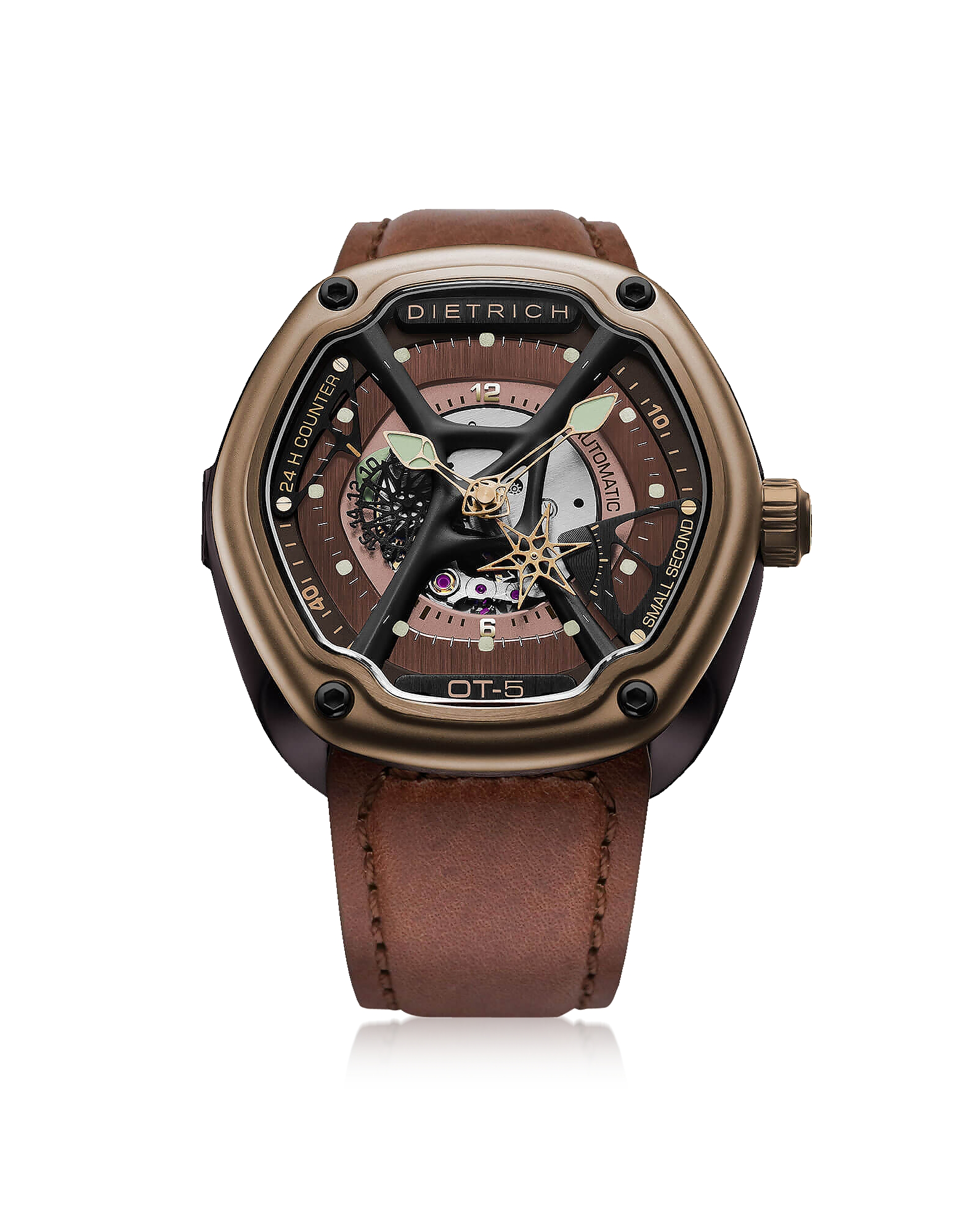 Dietrich Men's Watches, OT-5 316L Bronze Steel Men's Watch w/Luminova and Brown Leather Strap