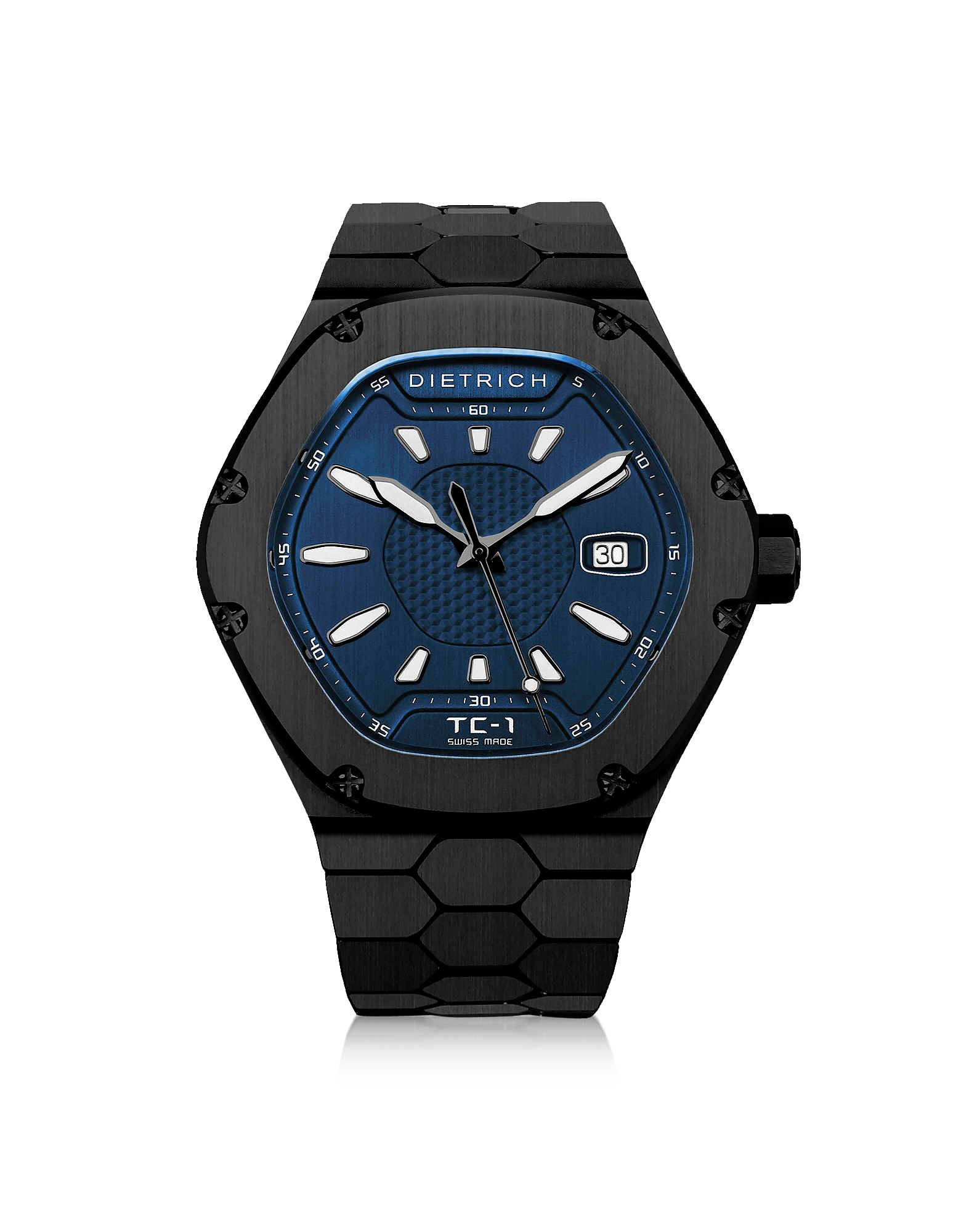 Dietrich Men's Watches, TC-1 Black PVD Stainless Steel w/White Luminova and Blue Dial