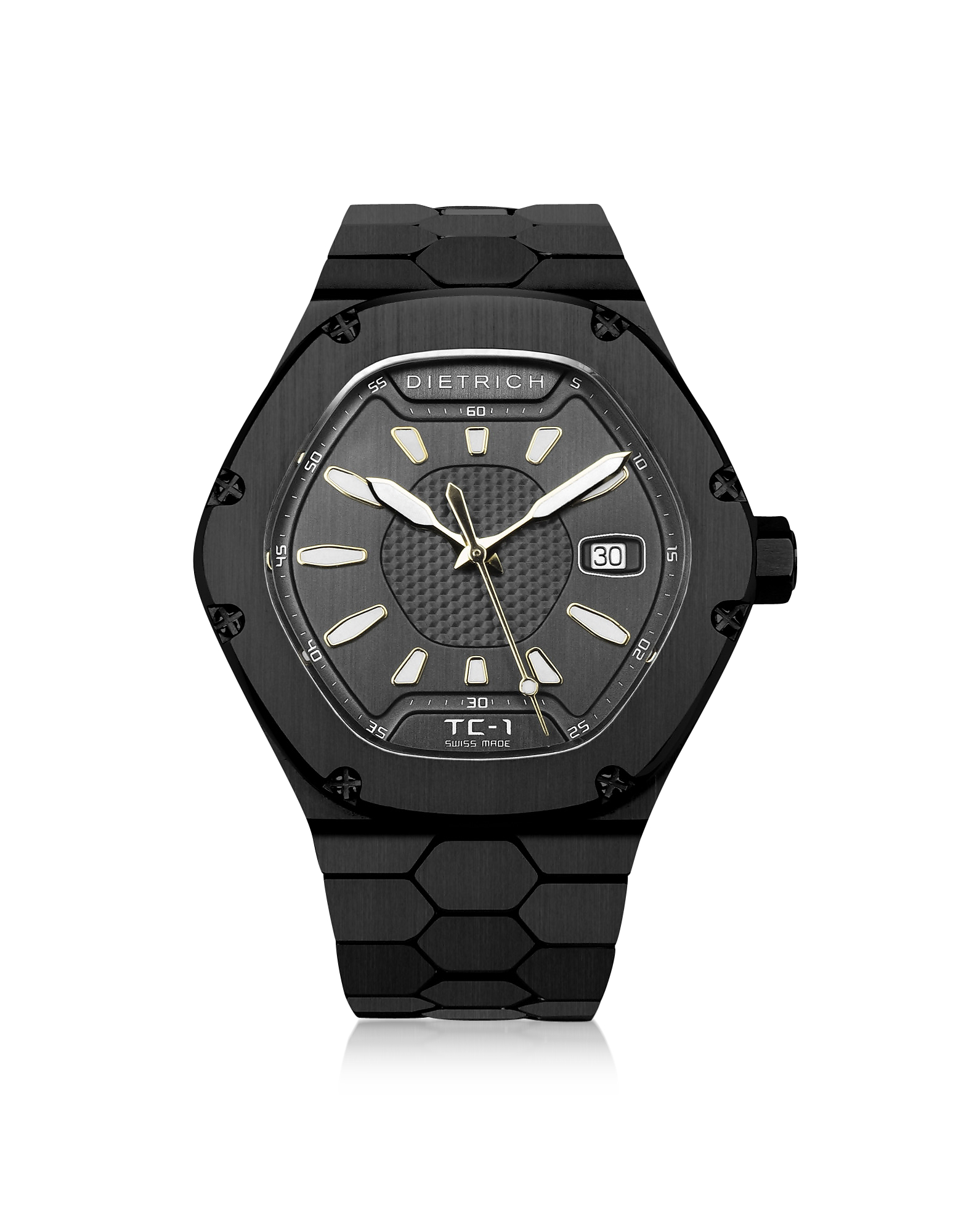 Dietrich Men's Watches, TC-1 Black PVD Stainless Steel w/White Luminova and Gray Dial