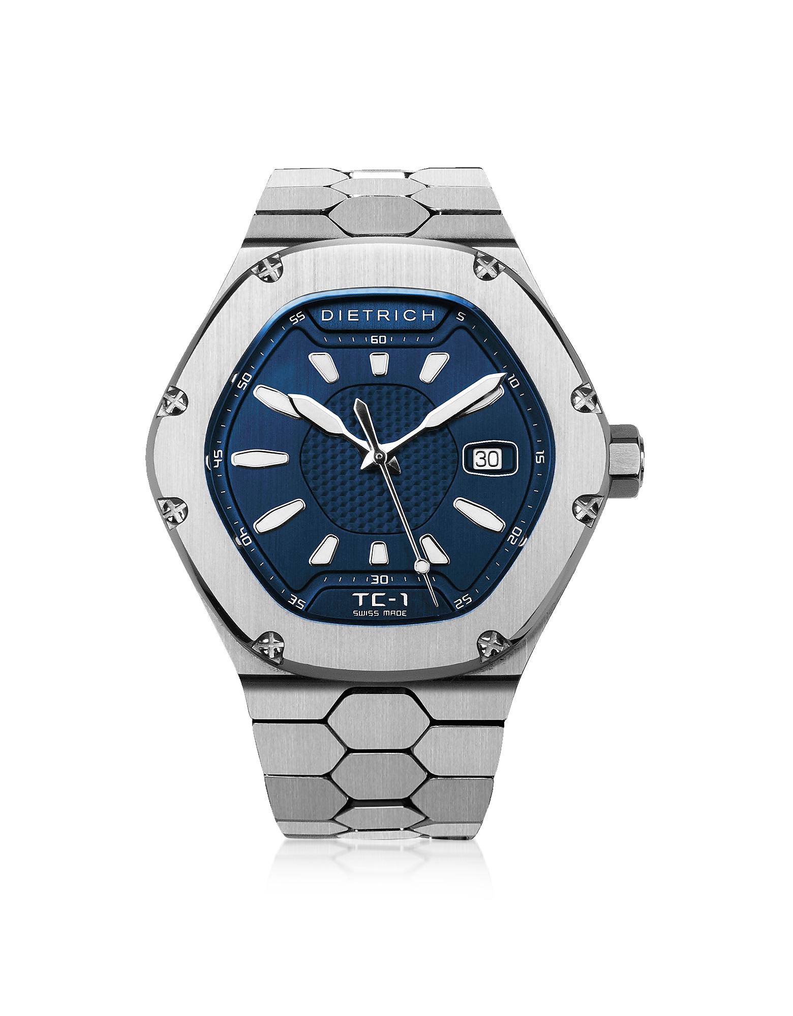Dietrich Designer Men's Watches, TC-1 SS 316L Steel w/White Luminova and Blue Dial