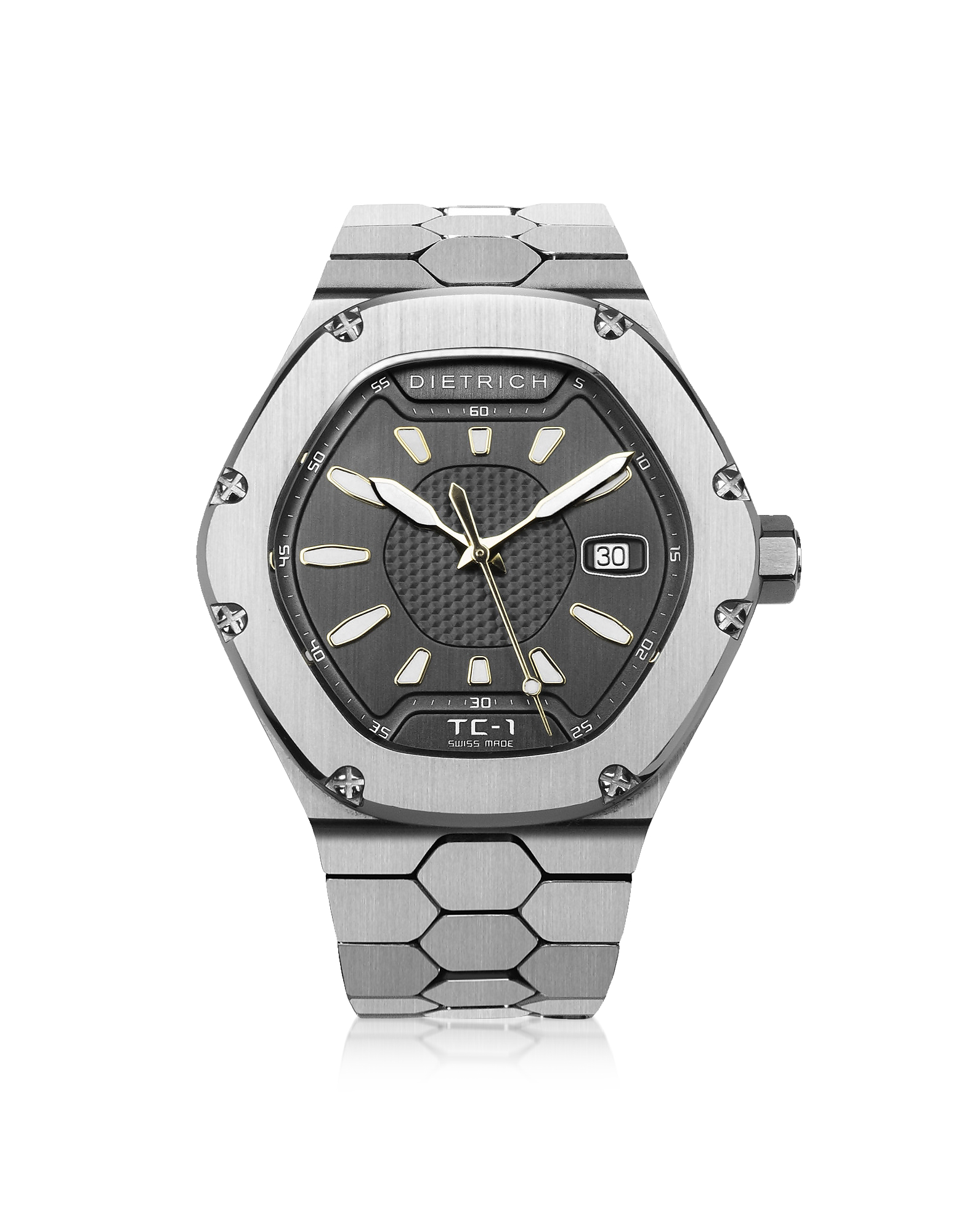 Dietrich Designer Men's Watches, TC-1 SS 316L Steel w/White Luminova and Gray Dial