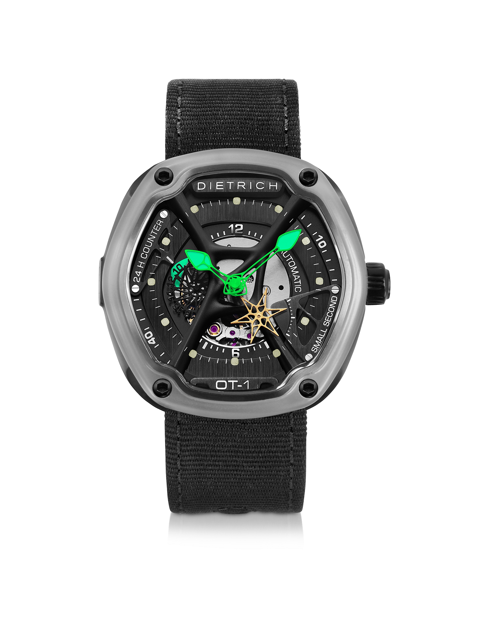 Dietrich Men's Watches, OT-1 316L Steel Men's Watch w/Green Luminova and Nylon Strap