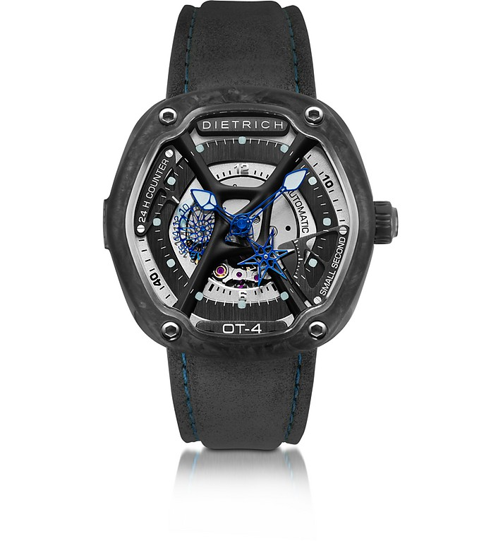 DIETRICH OT-4 316L Steel And Forged Carbon Men's Watch w/Blue Luminova and Gray Suede Strap