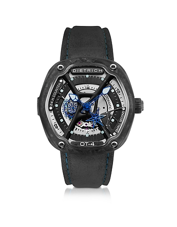 Dietrich - OT-4 316L Steel And Forged Carbon Men's Watch w/Blue Luminova and Gray Suede Strap