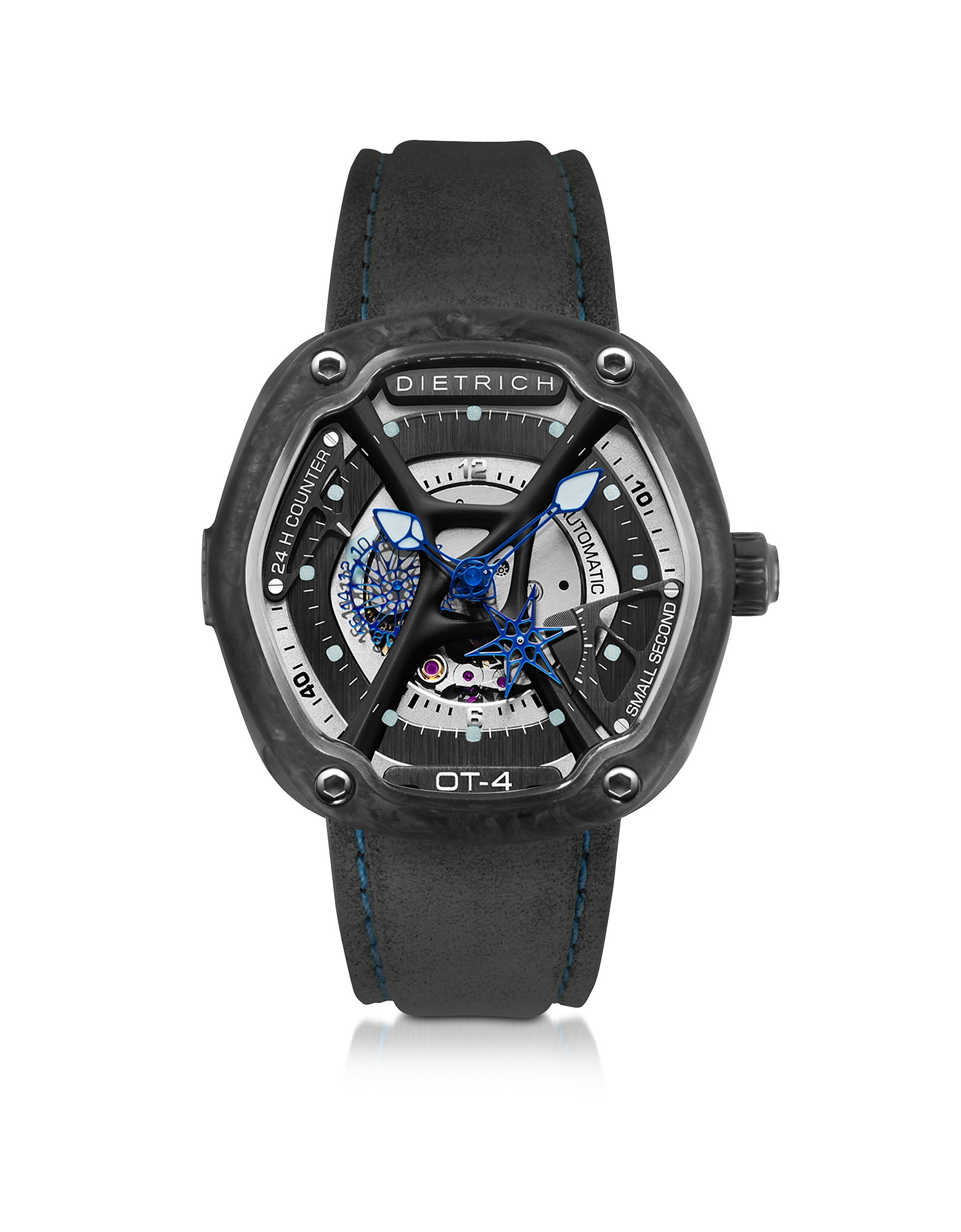 Dietrich Men's Watches, OT-4 316L Steel And Forged Carbon Men's Watch w/Blue Luminova and Gray Suede