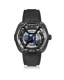 OT-4 316L Steel And Forged Carbon Men's Watch w/Blue Luminova and Gray Suede Strap