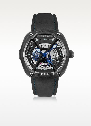 OT-4 316L Steel And Forged Carbon Men's Watch w/Blue Luminova and Gray Suede Strap - Dietrich