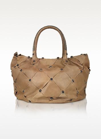 Leather Scarf - Large Studded Satchel Bag - David & Scotti