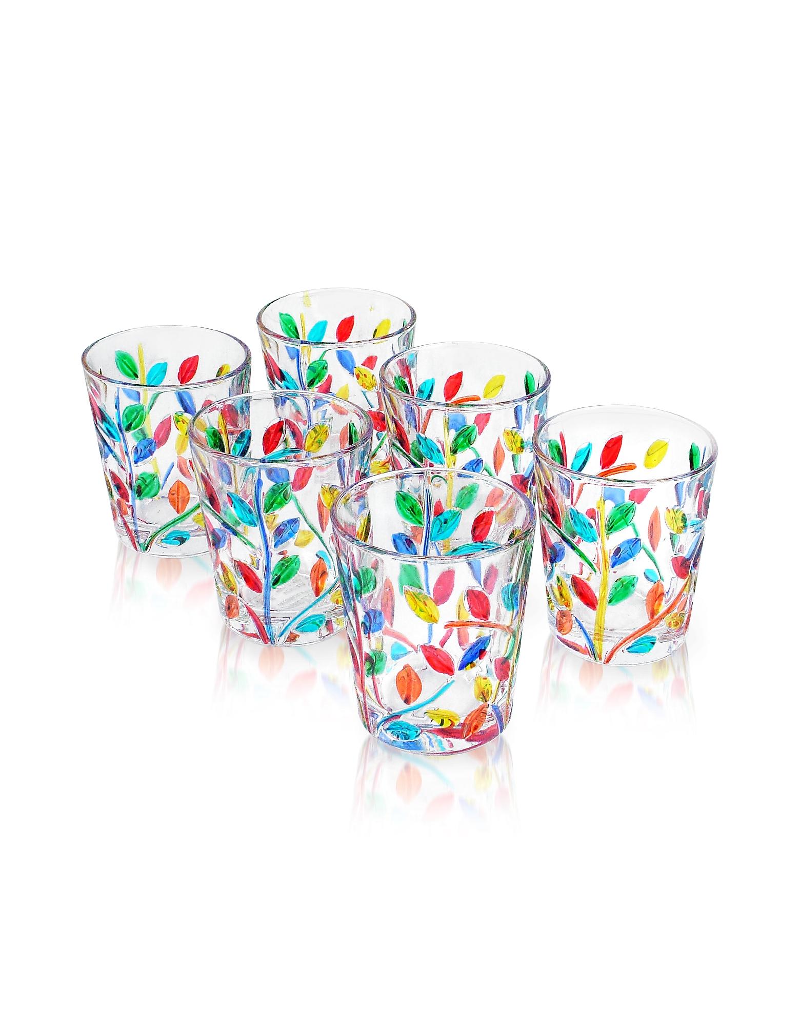 Sospiri - Multicolor Hand Decorated Murano Shot Glass Set of Six от Forzieri.com INT