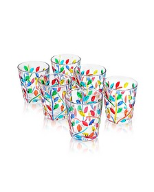 Sospiri - Multicolor Hand Decorated Murano Shot Glass Set of Six - Due Zeta