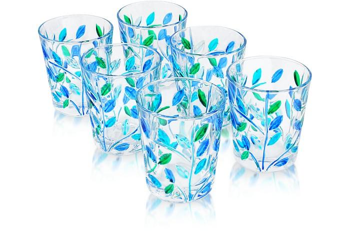 Sospiri - Blue Hand Decorated Murano Shot Glass Set of Six - Due Zeta