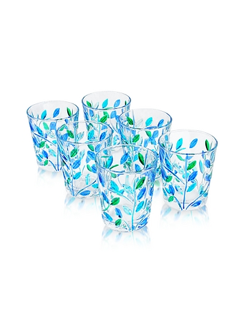 Due Zeta - Sospiri - Blue Hand Decorated Murano Shot Glass Set of Six